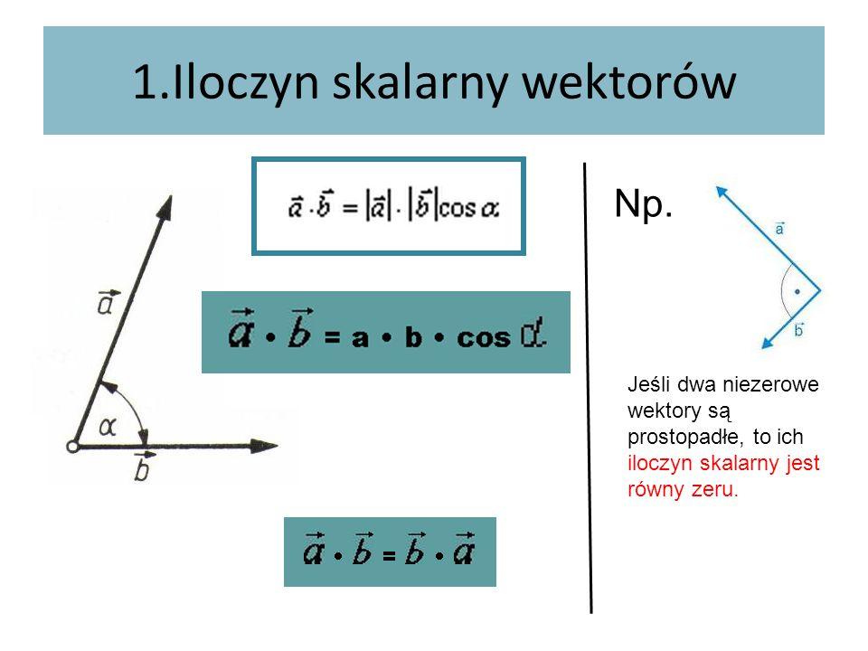 1.Iloczyn skalarny wektorów Np. Jeśli dwa niezerowe wektory są prostopadłe, to ich iloczyn skalarny jest równy zeru.