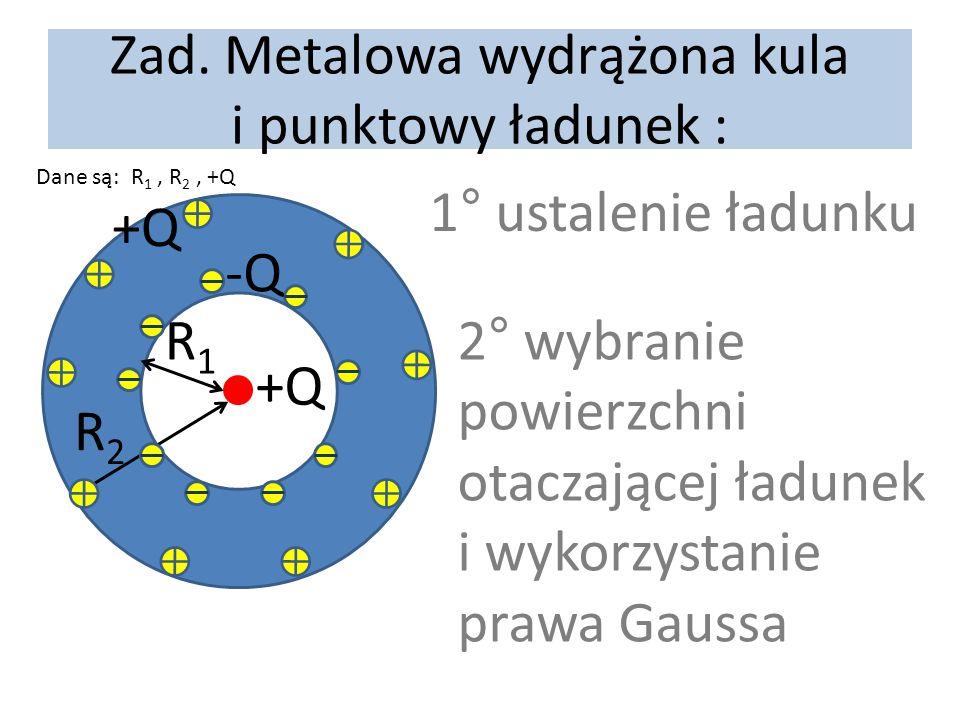Zad. Metalowa wydrążona kula i punktowy ładunek : Dane są: R 1, R 2, +Q +Q R1R1 R2R2 1° ustalenie ładunku -Q +Q 2° wybranie powierzchni otaczającej ła