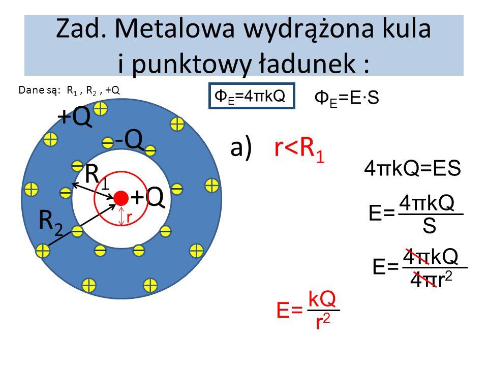 Zad. Metalowa wydrążona kula i punktowy ładunek : Dane są: R 1, R 2, +Q +Q R1R1 R2R2 -Q +Q r a) r<R 1 Φ E =4πkQ Φ E =E·S 4πkQ=ES E= 4πkQ S E= 4πkQ 4πr