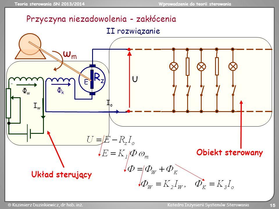 Teoria sterowania SN 2013/2014Wprowadzenie do teorii sterowania Kazimierz Duzinkiewicz, dr hab. inż.Katedra Inżynierii Systemów Sterowania 15 Przyczyn