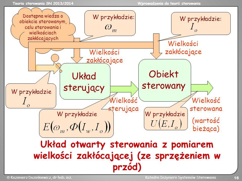 Teoria sterowania SN 2013/2014Wprowadzenie do teorii sterowania Kazimierz Duzinkiewicz, dr hab. inż.Katedra Inżynierii Systemów Sterowania 16 Obiekt s