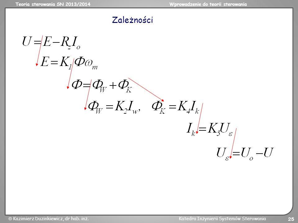 Teoria sterowania SN 2013/2014Wprowadzenie do teorii sterowania Kazimierz Duzinkiewicz, dr hab. inż.Katedra Inżynierii Systemów Sterowania 25 Zależnoś