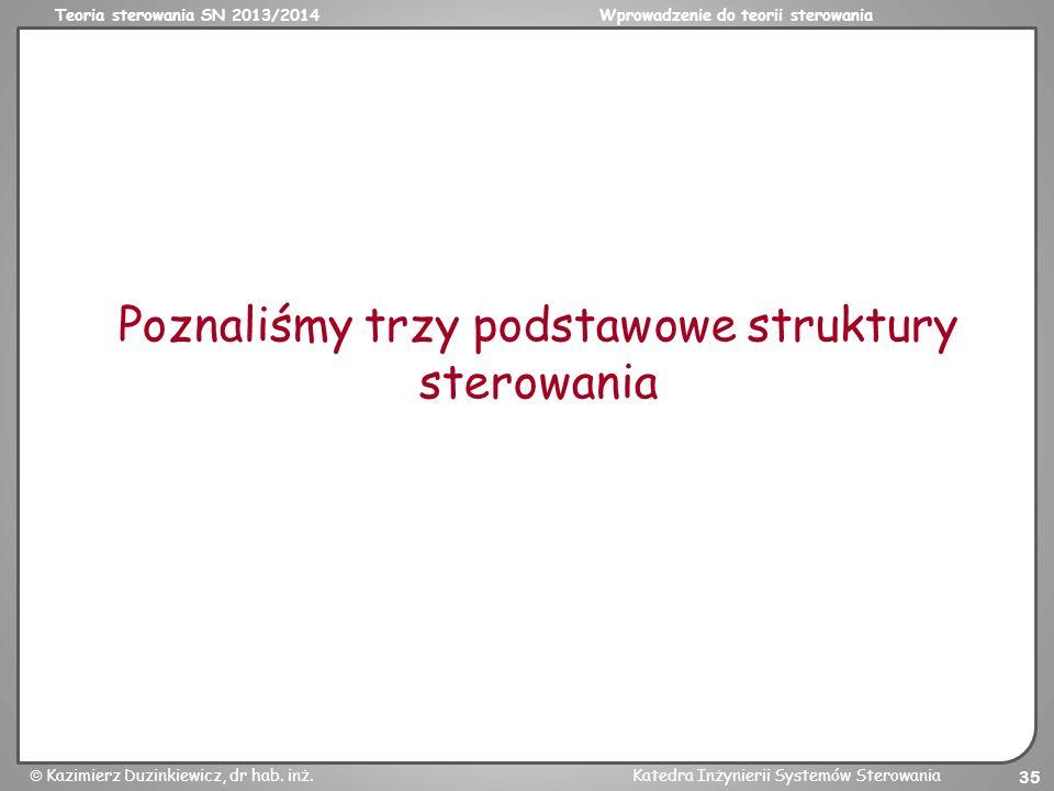Teoria sterowania SN 2013/2014Wprowadzenie do teorii sterowania Kazimierz Duzinkiewicz, dr hab. inż.Katedra Inżynierii Systemów Sterowania 35 Poznaliś