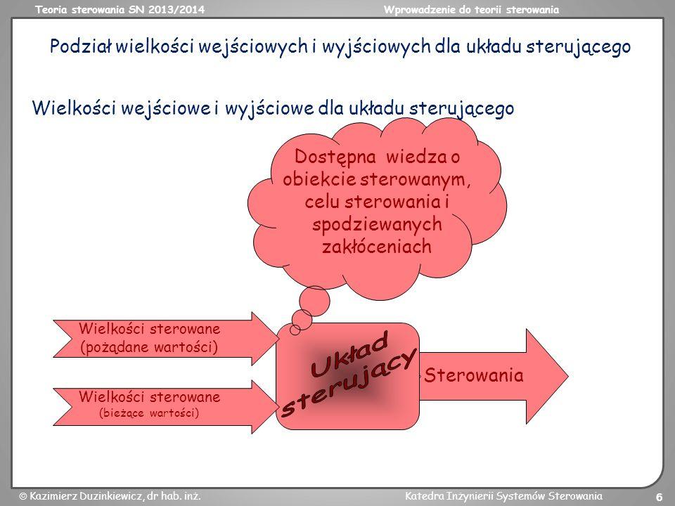 Teoria sterowania SN 2013/2014Wprowadzenie do teorii sterowania Kazimierz Duzinkiewicz, dr hab. inż.Katedra Inżynierii Systemów Sterowania 6 Podział w