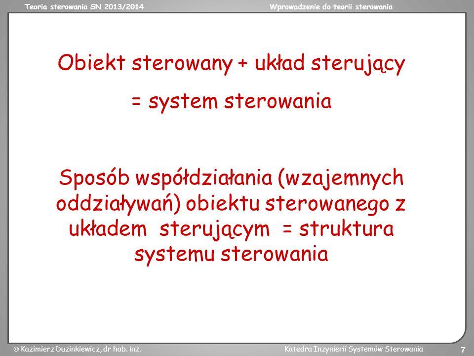 Teoria sterowania SN 2013/2014Wprowadzenie do teorii sterowania Kazimierz Duzinkiewicz, dr hab. inż.Katedra Inżynierii Systemów Sterowania 7 Sposób ws