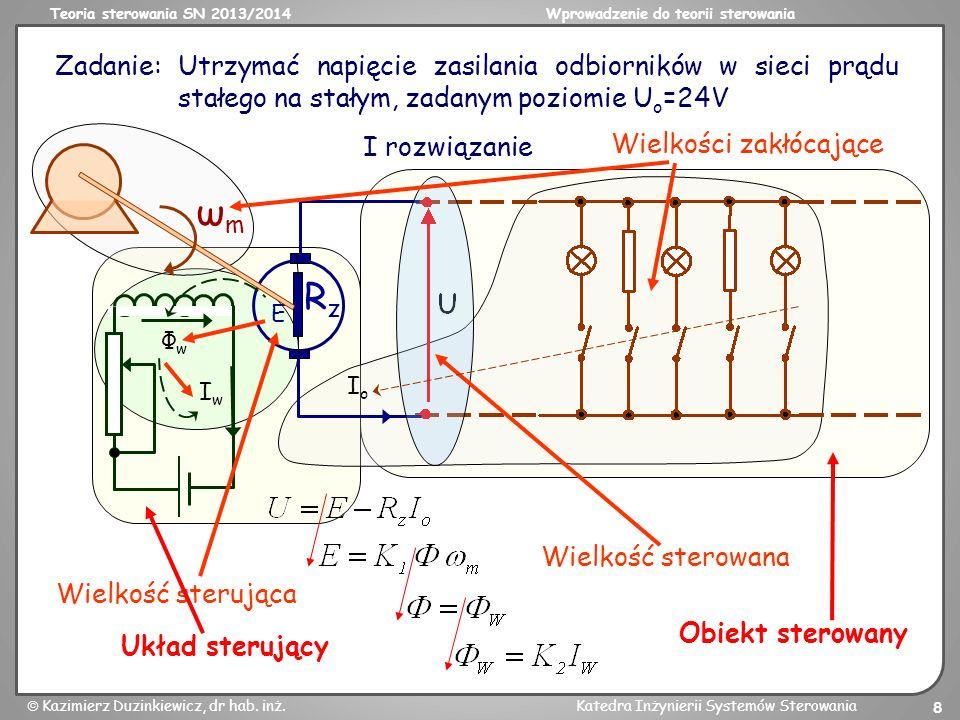 Teoria sterowania SN 2013/2014Wprowadzenie do teorii sterowania Kazimierz Duzinkiewicz, dr hab. inż.Katedra Inżynierii Systemów Sterowania 8 Zadanie: