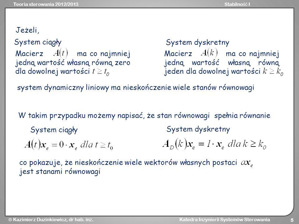 Teoria sterowania 2012/2013Stabilno ść I Kazimierz Duzinkiewicz, dr hab. in ż. Katedra In ż ynierii Systemów Sterowania 5 Macierz ma co najmniej jedną