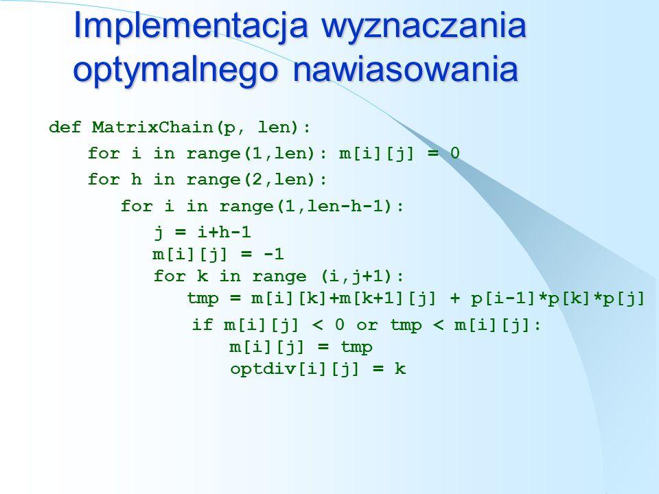 Implementacja wyznaczania optymalnego nawiasowania def MatrixChain(p, len): for i in range(1,len): m[i][j] = 0 for h in range(2,len): for i in range(1