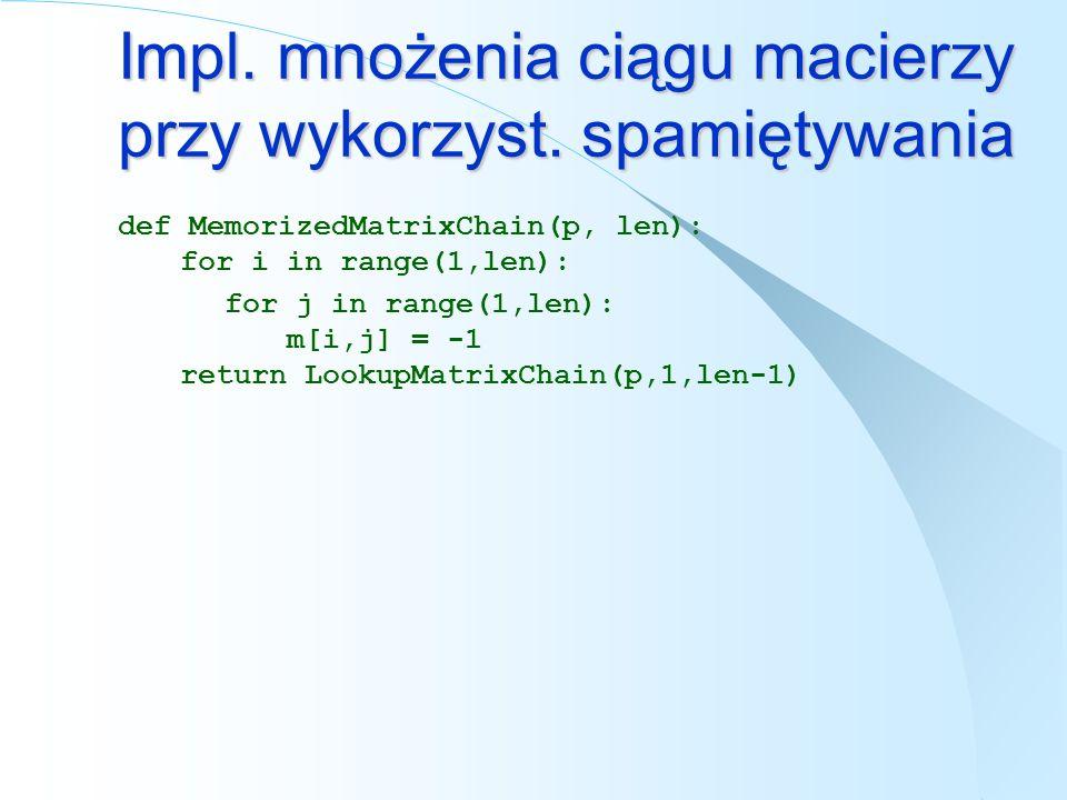def MemorizedMatrixChain(p, len): for i in range(1,len): for j in range(1,len): m[i,j] = -1 return LookupMatrixChain(p,1,len-1) Impl. mnożenia ciągu m