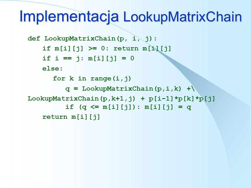 def LookupMatrixChain(p, i, j): if m[i][j] >= 0: return m[i][j] if i == j: m[i][j] = 0 else: for k in range(i,j) q = LookupMatrixChain(p,i,k) +\ Looku