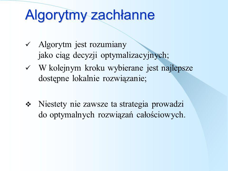 Algorytmy zachłanne Algorytm jest rozumiany jako ciąg decyzji optymalizacyjnych; W kolejnym kroku wybierane jest najlepsze dostępne lokalnie rozwiązan