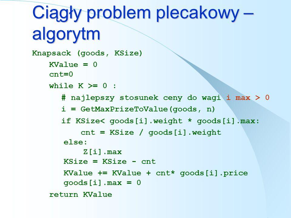 Ciągły problem plecakowy – algorytm Knapsack (goods, KSize) KValue = 0 cnt=0 while K >= 0 : # najlepszy stosunek ceny do wagi i max > 0 i = GetMaxPriz