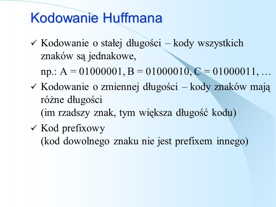 Kodowanie Huffmana Kodowanie o stałej długości – kody wszystkich znaków są jednakowe, np.: A = 01000001, B = 01000010, C = 01000011, … Kodowanie o zmi