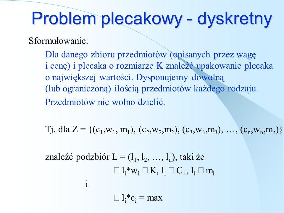 Problem plecakowy - dyskretny Przykład (bez limitów): Przedmioty (waga, cena): Z = { (1, 1), (2, 1), (3, 11), (4, 16), (5, 24) } Plecak: K = 7 Optymalne upakowanie: KN(K,Z) = 27 Liczby przedmiotów: L = (0, 0, 1, 1, 0)