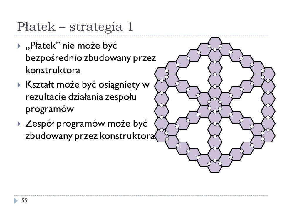 Płatek – strategia 1 55 Płatek nie może być bezpośrednio zbudowany przez konstruktora Kształt może być osiągnięty w rezultacie działania zespołu programów Zespół programów może być zbudowany przez konstruktora
