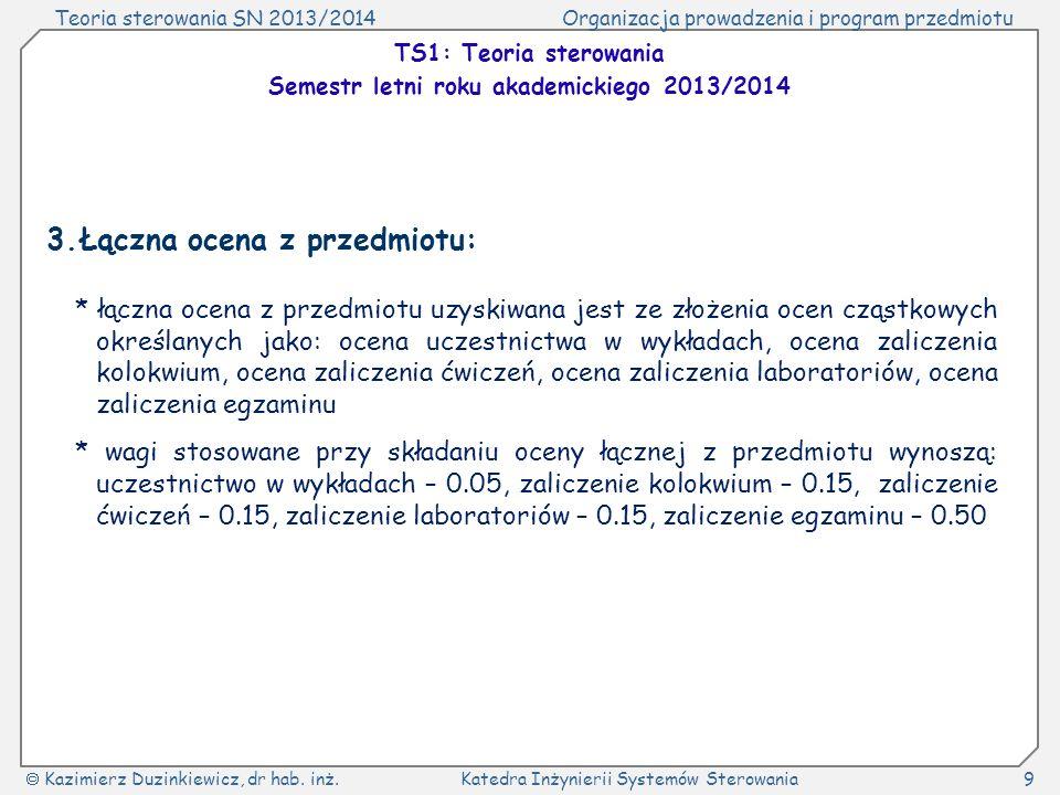 Teoria sterowania SN 2013/2014Organizacja prowadzenia i program przedmiotu Kazimierz Duzinkiewicz, dr hab. inż.Katedra Inżynierii Systemów Sterowania9