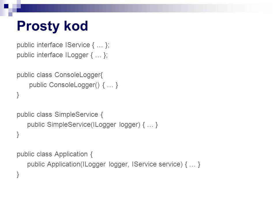 Prosty kod public interface IService { … }; public interface ILogger { … }; public class ConsoleLogger{ public ConsoleLogger() { … } } public class Si