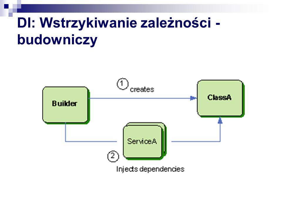 DI przypadek użycia public interface IService { } public class Application { private readonly IService service; public Application(IService service) { this.service = service; } } public class ServiceImpl : IService { } Application a = new Application(new ServiceImpl()); //Co z ew.