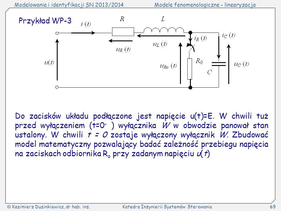 Modelowanie i identyfikacji SN 2013/2014Modele fenomenologiczne - linearyzacja Kazimierz Duzinkiewicz, dr hab.