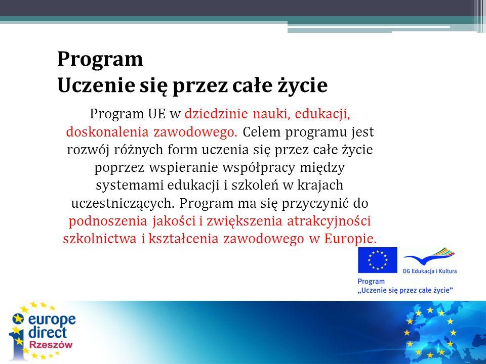 Program Uczenie się przez całe życie Program UE w dziedzinie nauki, edukacji, doskonalenia zawodowego.