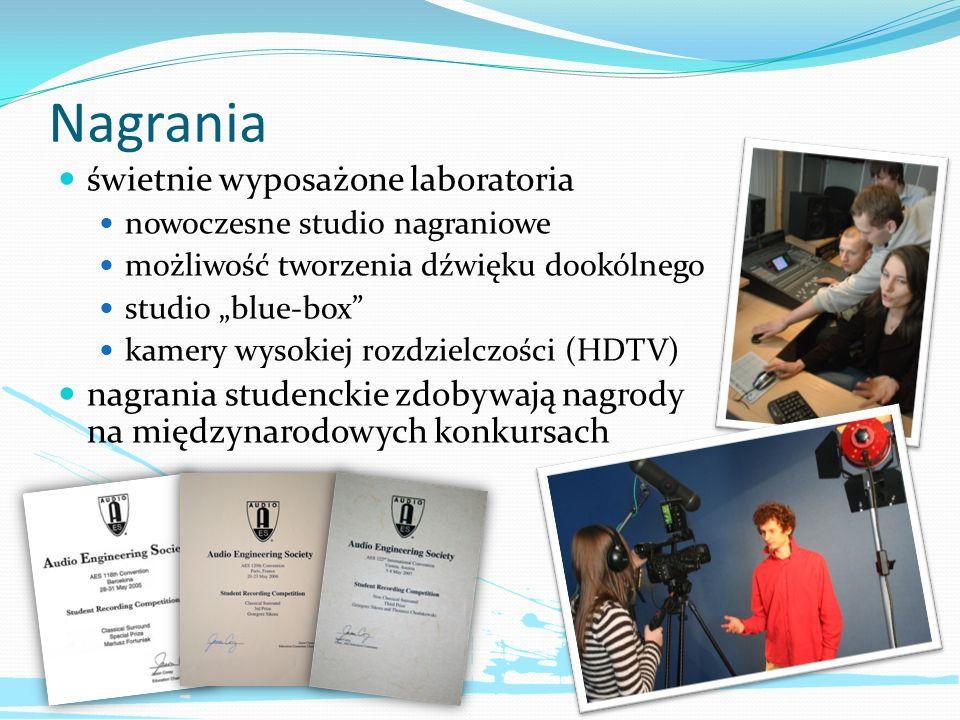 Nagrania świetnie wyposażone laboratoria nowoczesne studio nagraniowe możliwość tworzenia dźwięku dookólnego studio blue-box kamery wysokiej rozdzielc