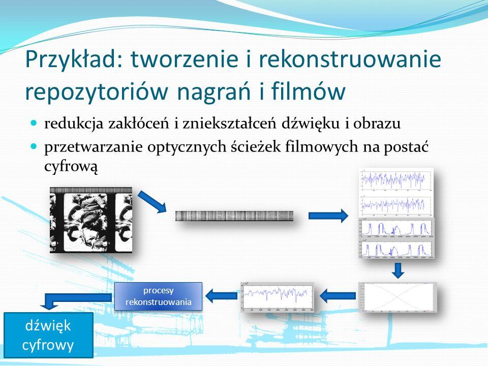 Przykład: tworzenie i rekonstruowanie repozytoriów nagrań i filmów redukcja zakłóceń i zniekształceń dźwięku i obrazu przetwarzanie optycznych ścieżek