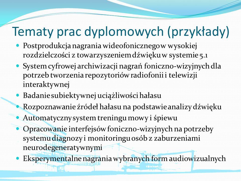 Tematy prac dyplomowych (przykłady) Postprodukcja nagrania wideofonicznego w wysokiej rozdzielczości z towarzyszeniem dźwięku w systemie 5.1 System cy