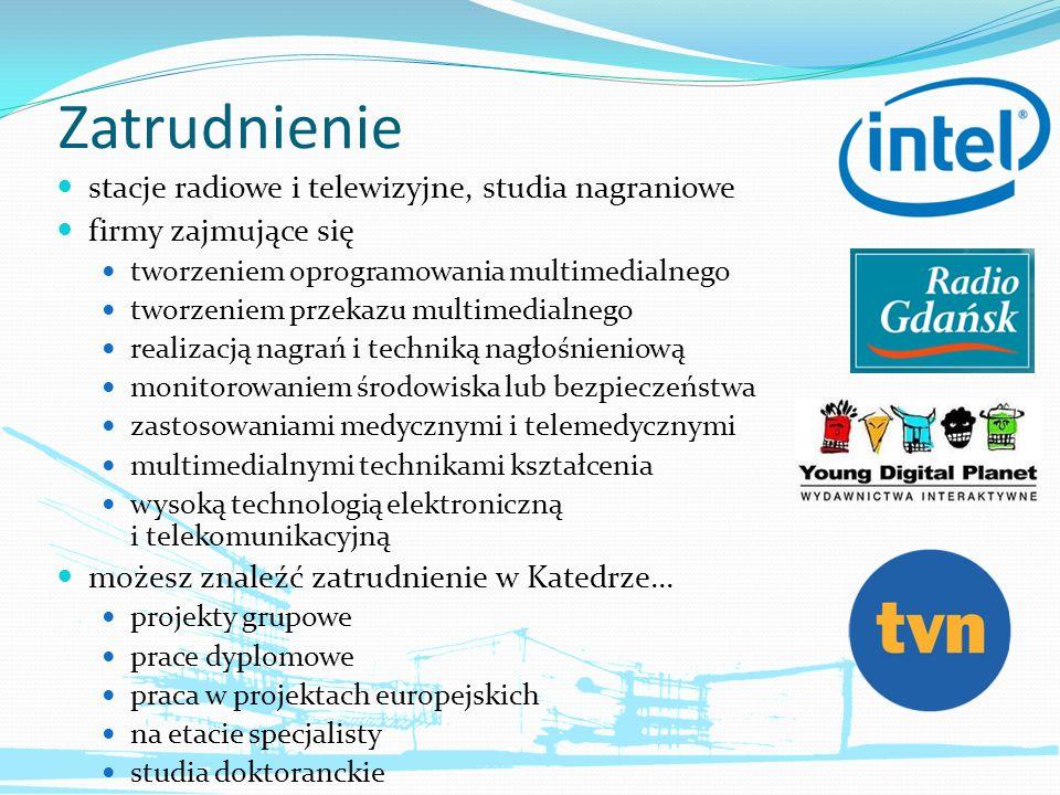 Zatrudnienie stacje radiowe i telewizyjne, studia nagraniowe firmy zajmujące się tworzeniem oprogramowania multimedialnego tworzeniem przekazu multime