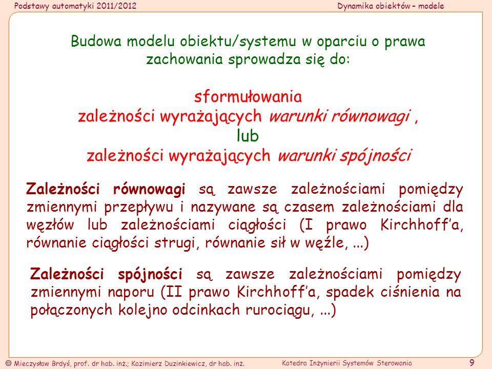 Podstawy automatyki 2011/2012Dynamika obiektów – modele Mieczysław Brdyś, prof.