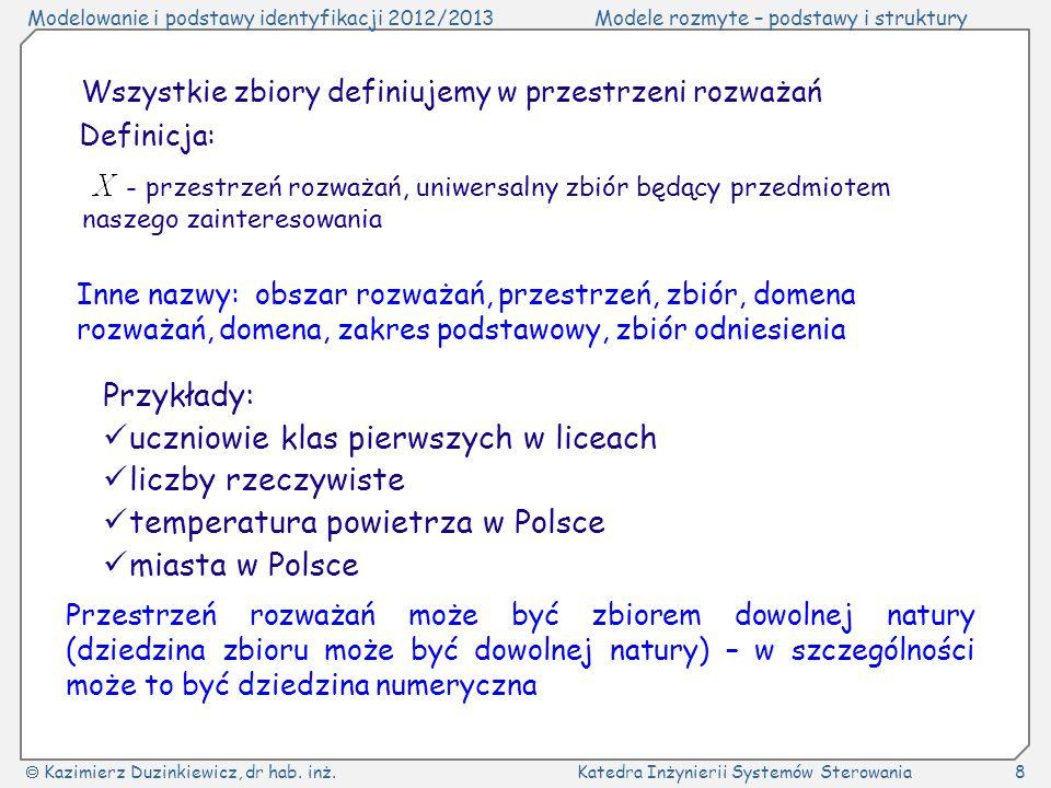 Modelowanie i podstawy identyfikacji 2012/2013Modele rozmyte – podstawy i struktury Kazimierz Duzinkiewicz, dr hab.