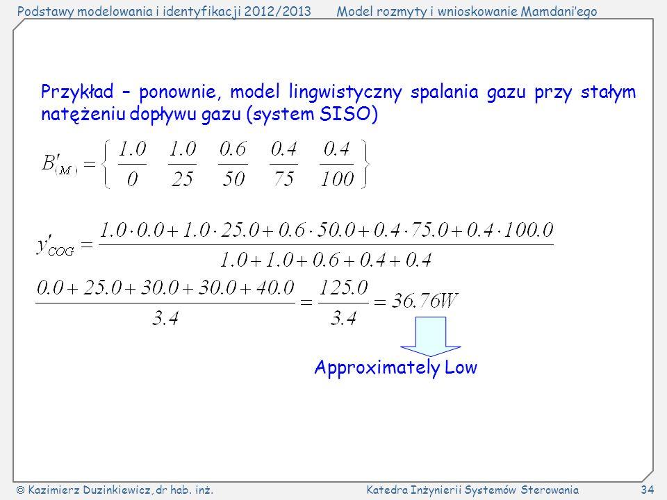 Podstawy modelowania i identyfikacji 2012/2013Model rozmyty i wnioskowanie Mamdaniego Kazimierz Duzinkiewicz, dr hab. inż.Katedra Inżynierii Systemów
