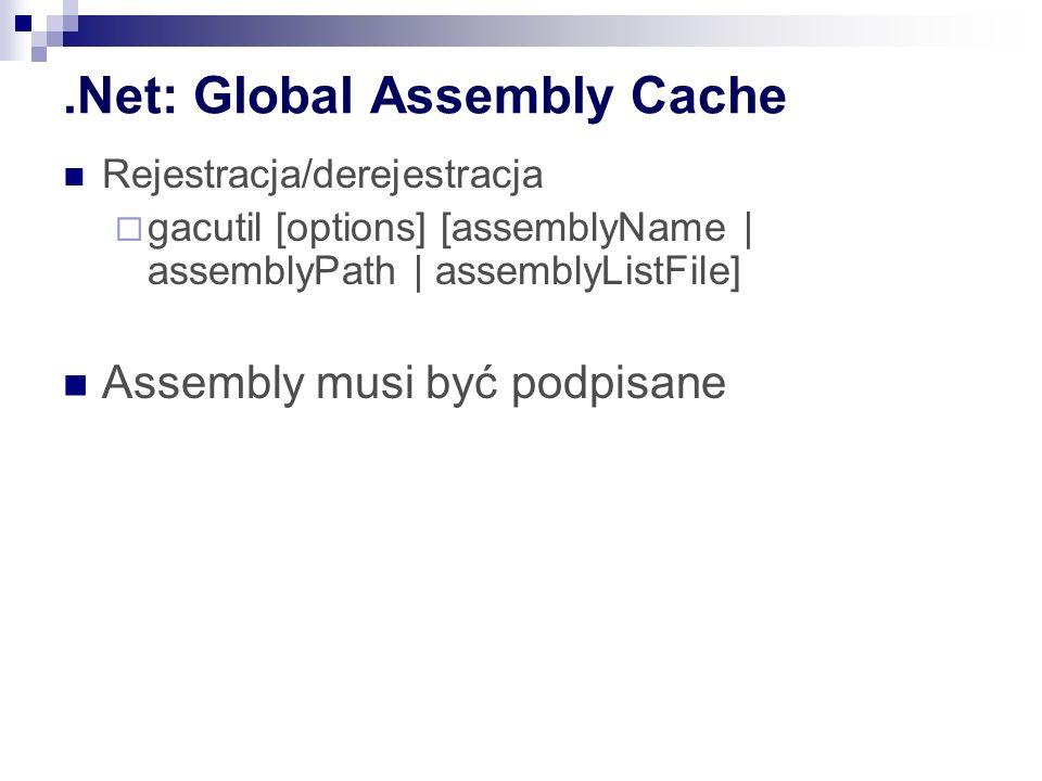 .Net: Global Assembly Cache Rejestracja/derejestracja gacutil [options] [assemblyName | assemblyPath | assemblyListFile] Assembly musi być podpisane