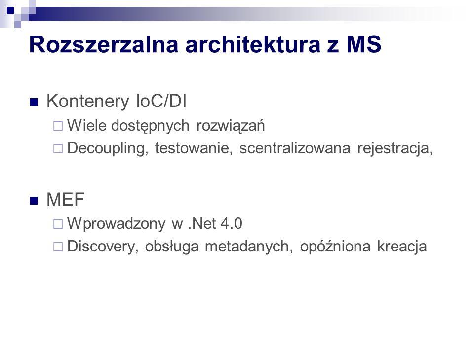 Rozszerzalna architektura z MS Kontenery IoC/DI Wiele dostępnych rozwiązań Decoupling, testowanie, scentralizowana rejestracja, MEF Wprowadzony w.Net 4.0 Discovery, obsługa metadanych, opóźniona kreacja