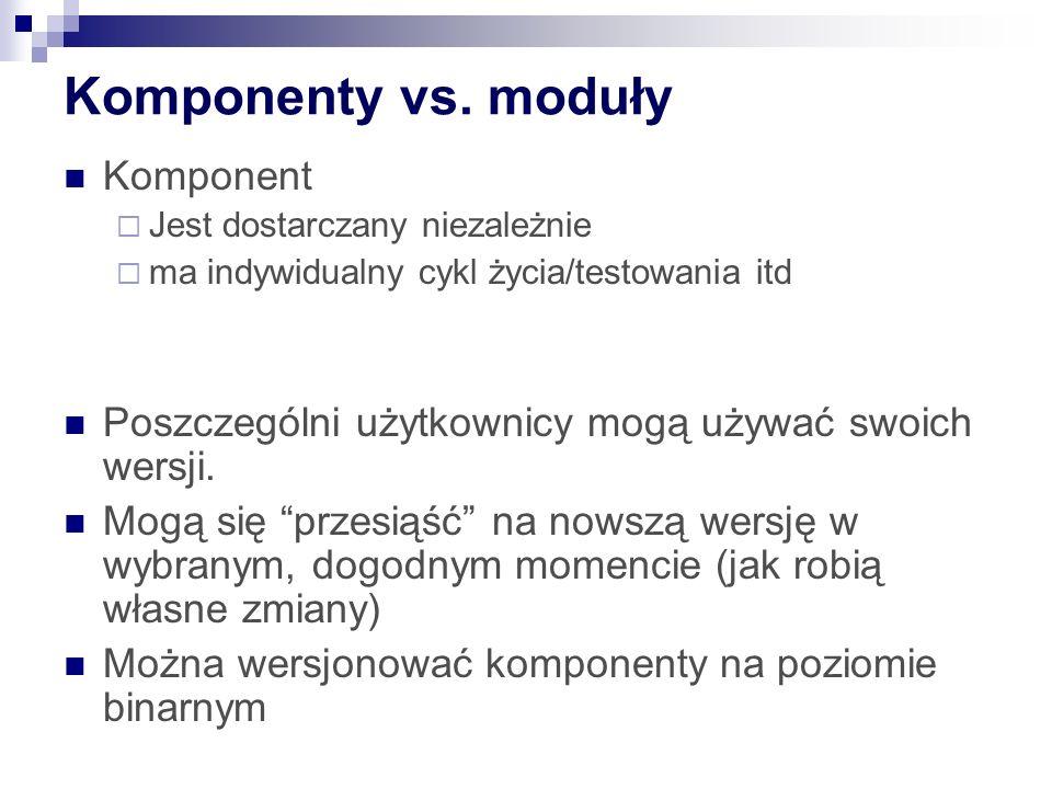 Komponenty vs. moduły Komponent Jest dostarczany niezależnie ma indywidualny cykl życia/testowania itd Poszczególni użytkownicy mogą używać swoich wer