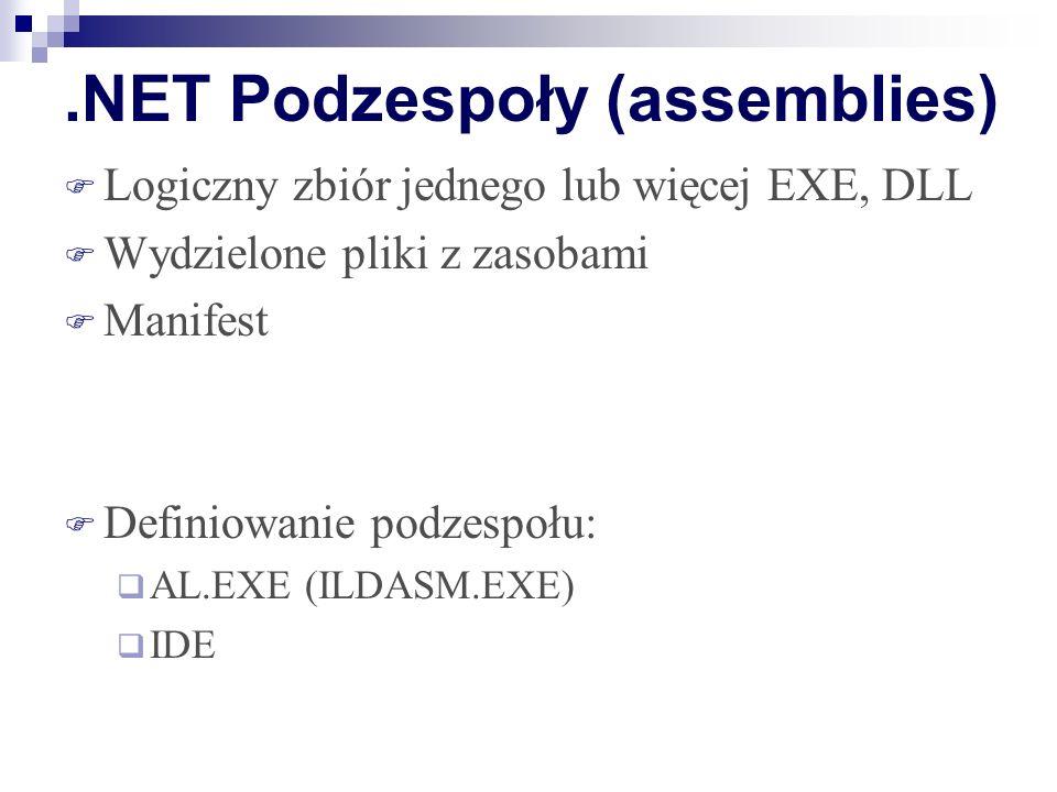.NET Podzespoły (assemblies) Logiczny zbiór jednego lub więcej EXE, DLL Wydzielone pliki z zasobami Manifest Definiowanie podzespołu: AL.EXE (ILDASM.E