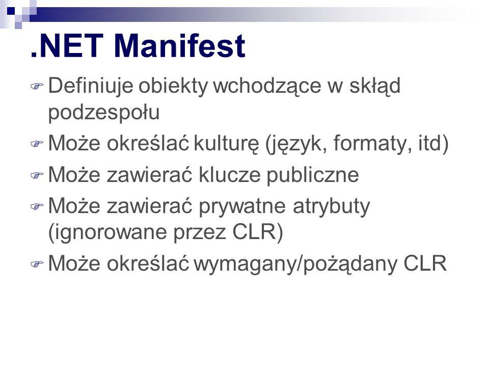 .NET Manifest Definiuje obiekty wchodzące w skłąd podzespołu Może określać kulturę (język, formaty, itd) Może zawierać klucze publiczne Może zawierać prywatne atrybuty (ignorowane przez CLR) Może określać wymagany/pożądany CLR