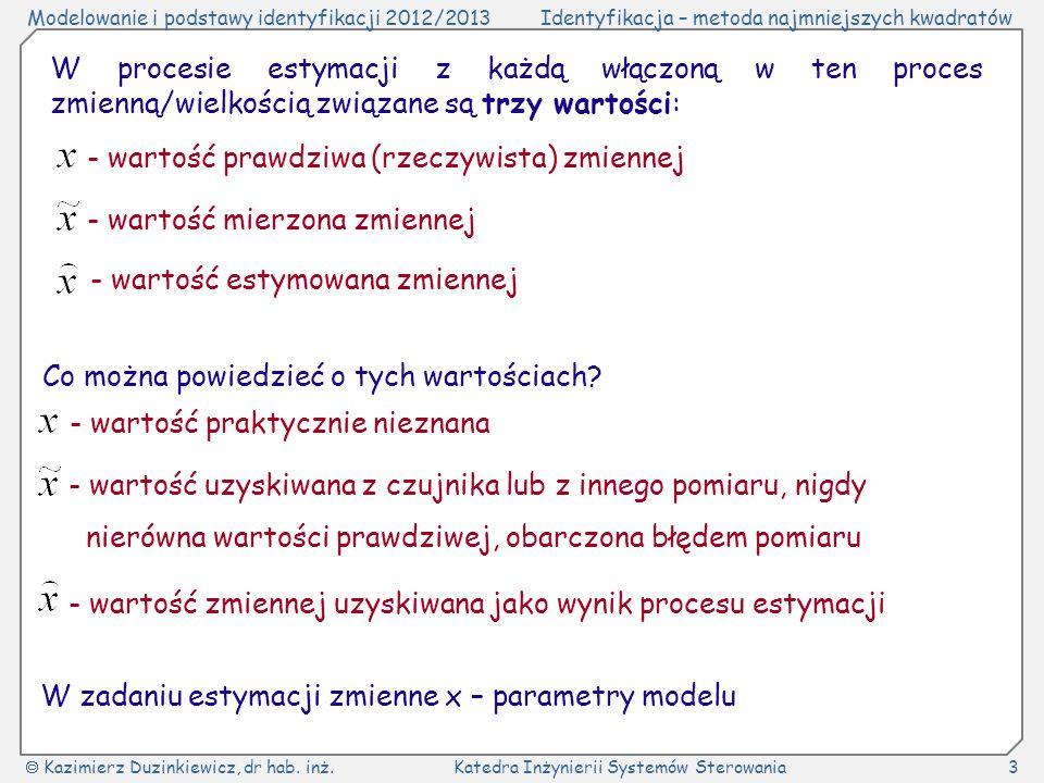 Modelowanie i podstawy identyfikacji 2012/2013Identyfikacja – metoda najmniejszych kwadratów Kazimierz Duzinkiewicz, dr hab. inż.Katedra Inżynierii Sy