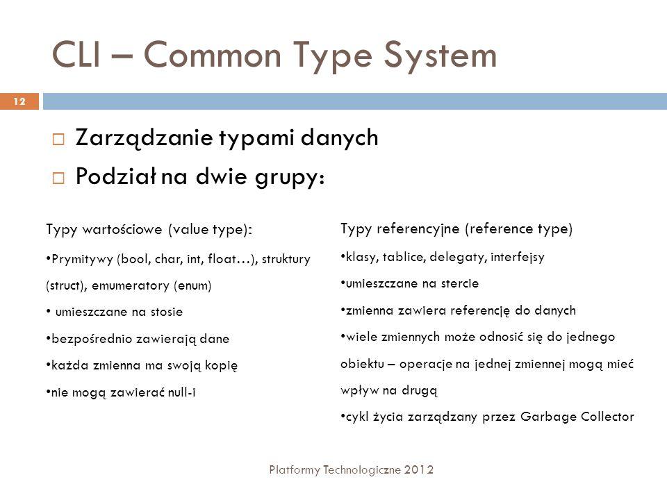 CLI – Common Type System Platformy Technologiczne 2012 12 Zarządzanie typami danych Podział na dwie grupy: Typy wartościowe (value type) : Prymitywy (bool, char, int, float…), struktury (struct), emumeratory (enum) umieszczane na stosie bezpośrednio zawierają dane każda zmienna ma swoją kopię nie mogą zawierać null-i Typy referencyjne (reference type) klasy, tablice, delegaty, interfejsy umieszczane na stercie zmienna zawiera referencję do danych wiele zmiennych może odnosić się do jednego obiektu – operacje na jednej zmiennej mogą mieć wpływ na drugą cykl życia zarządzany przez Garbage Collector