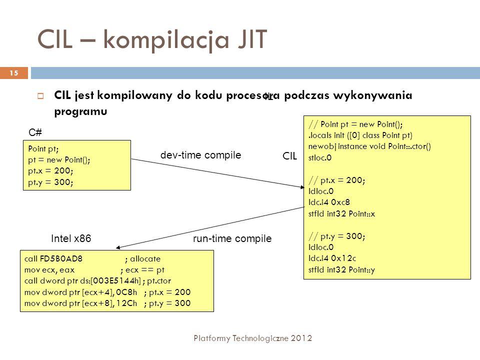 CIL – kompilacja JIT Platformy Technologiczne 2012 15 CIL jest kompilowany do kodu procesora podczas wykonywania programu Point pt; pt = new Point(); pt.x = 200; pt.y = 300; C# // Point pt = new Point();.locals init ([0] class Point pt) newobj instance void Point::.ctor() stloc.0 // pt.x = 200; ldloc.0 ldc.i4 0xc8 stfld int32 Point::x // pt.y = 300; ldloc.0 ldc.i4 0x12c stfld int32 Point::y IL call FD5B0AD8 ; allocate mov ecx, eax ; ecx == pt call dword ptr ds:[003E5144h] ; pt.ctor mov dword ptr [ecx+4], 0C8h ; pt.x = 200 mov dword ptr [ecx+8], 12Ch ; pt.y = 300 Intel x86 dev-time compile run-time compile CIL