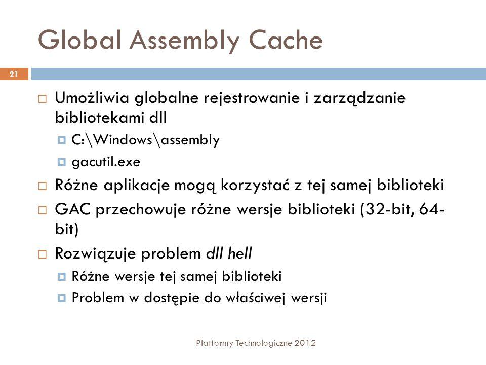 Global Assembly Cache Platformy Technologiczne 2012 21 Umożliwia globalne rejestrowanie i zarządzanie bibliotekami dll C:\Windows\assembly gacutil.exe Różne aplikacje mogą korzystać z tej samej biblioteki GAC przechowuje różne wersje biblioteki (32-bit, 64- bit) Rozwiązuje problem dll hell Różne wersje tej samej biblioteki Problem w dostępie do właściwej wersji