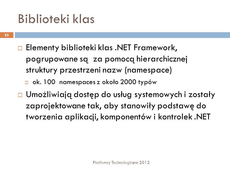 Biblioteki klas Platformy Technologiczne 2012 25 Elementy biblioteki klas.NET Framework, pogrupowane są za pomocą hierarchicznej struktury przestrzeni nazw (namespace) ok.