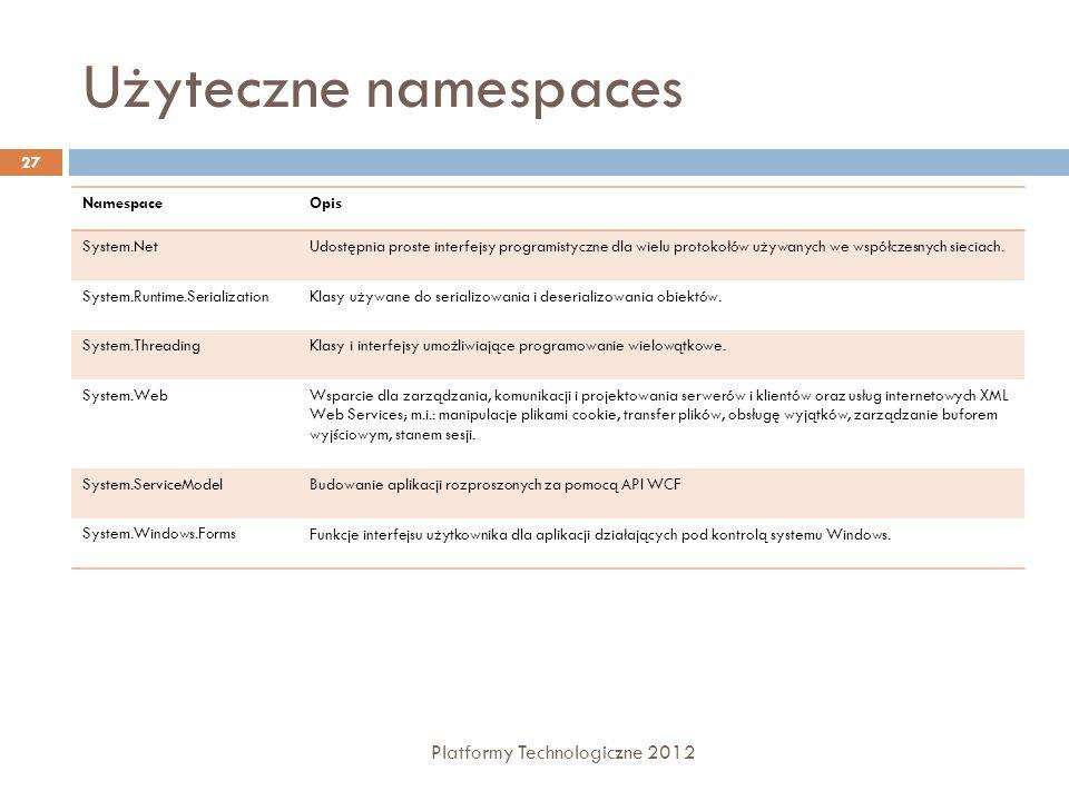 Użyteczne namespaces Platformy Technologiczne 2012 27 NamespaceOpis System.NetUdostępnia proste interfejsy programistyczne dla wielu protokołów używanych we współczesnych sieciach.
