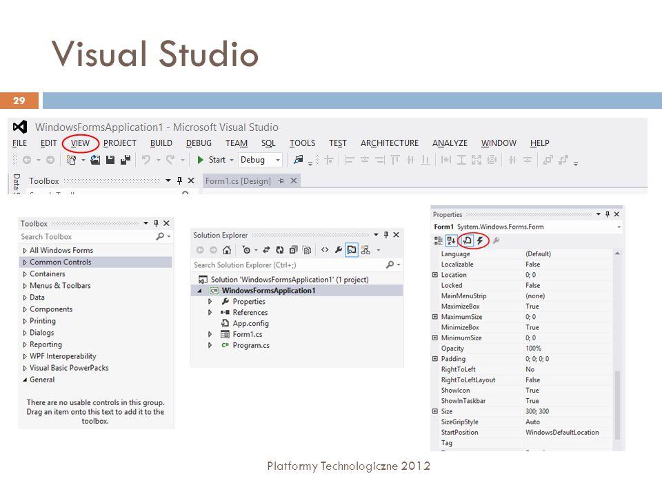 Visual Studio Platformy Technologiczne 2012 29