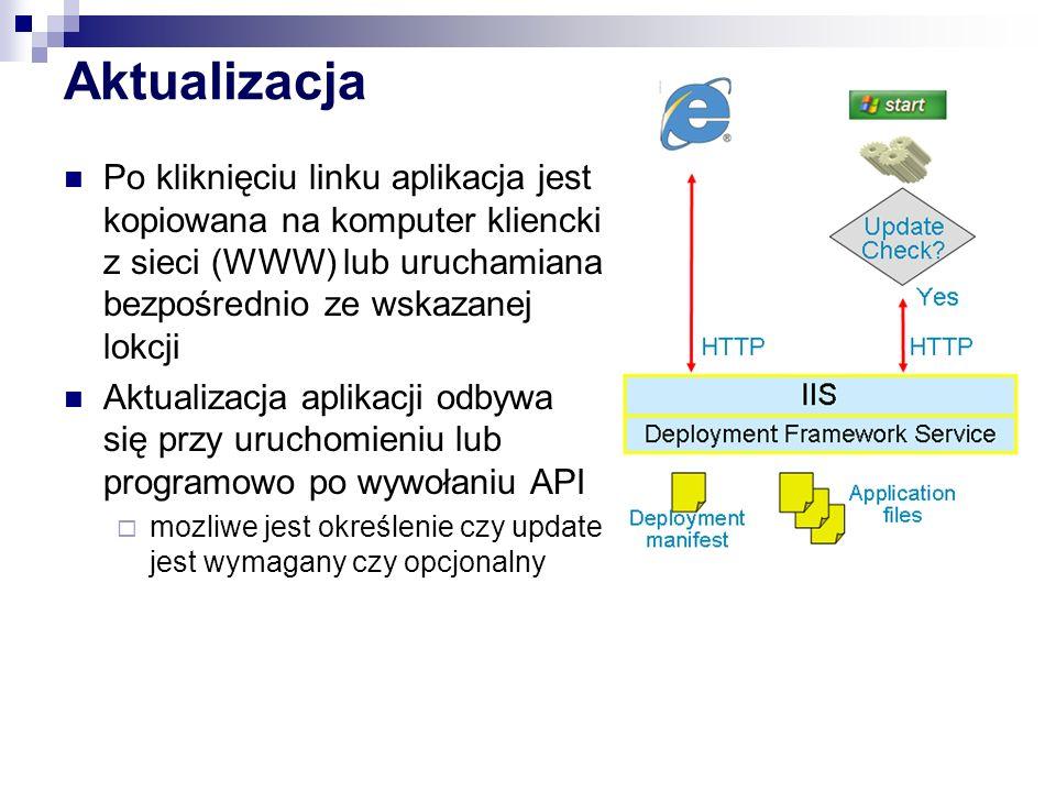 Aktualizacja Po kliknięciu linku aplikacja jest kopiowana na komputer kliencki z sieci (WWW) lub uruchamiana bezpośrednio ze wskazanej lokcji Aktualiz