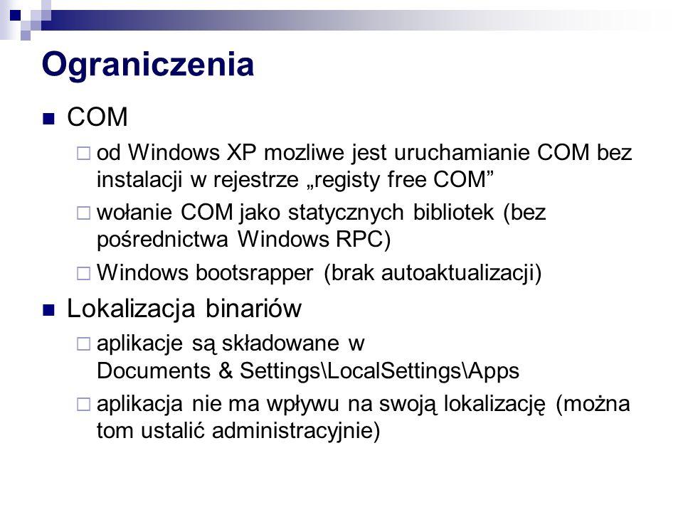 Ograniczenia COM od Windows XP mozliwe jest uruchamianie COM bez instalacji w rejestrze registy free COM wołanie COM jako statycznych bibliotek (bez p