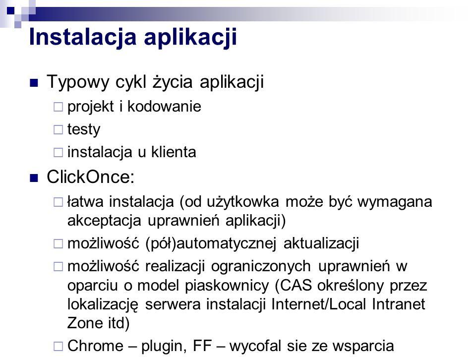Instalacja aplikacji Typowy cykl życia aplikacji projekt i kodowanie testy instalacja u klienta ClickOnce: łatwa instalacja (od użytkowka może być wym