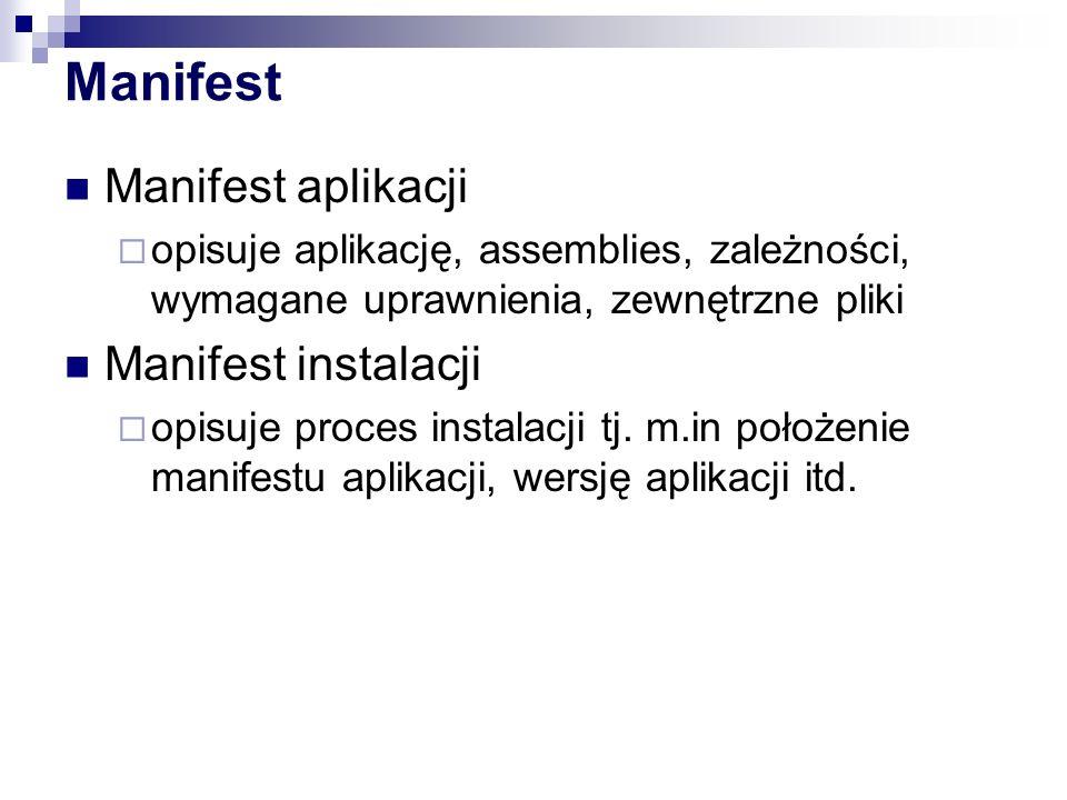 Manifest Manifest aplikacji opisuje aplikację, assemblies, zależności, wymagane uprawnienia, zewnętrzne pliki Manifest instalacji opisuje proces insta