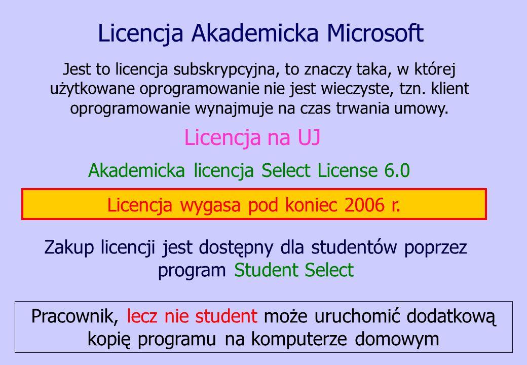 Licencja Akademicka Microsoft Akademicka licencja Select License 6.0 Zakup licencji jest dostępny dla studentów poprzez program Student Select Jest to