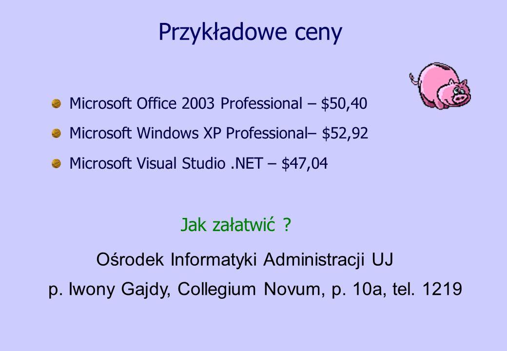 Przykładowe ceny Microsoft Office 2003 Professional – $50,40 Microsoft Windows XP Professional– $52,92 Microsoft Visual Studio.NET – $47,04 Jak załatw