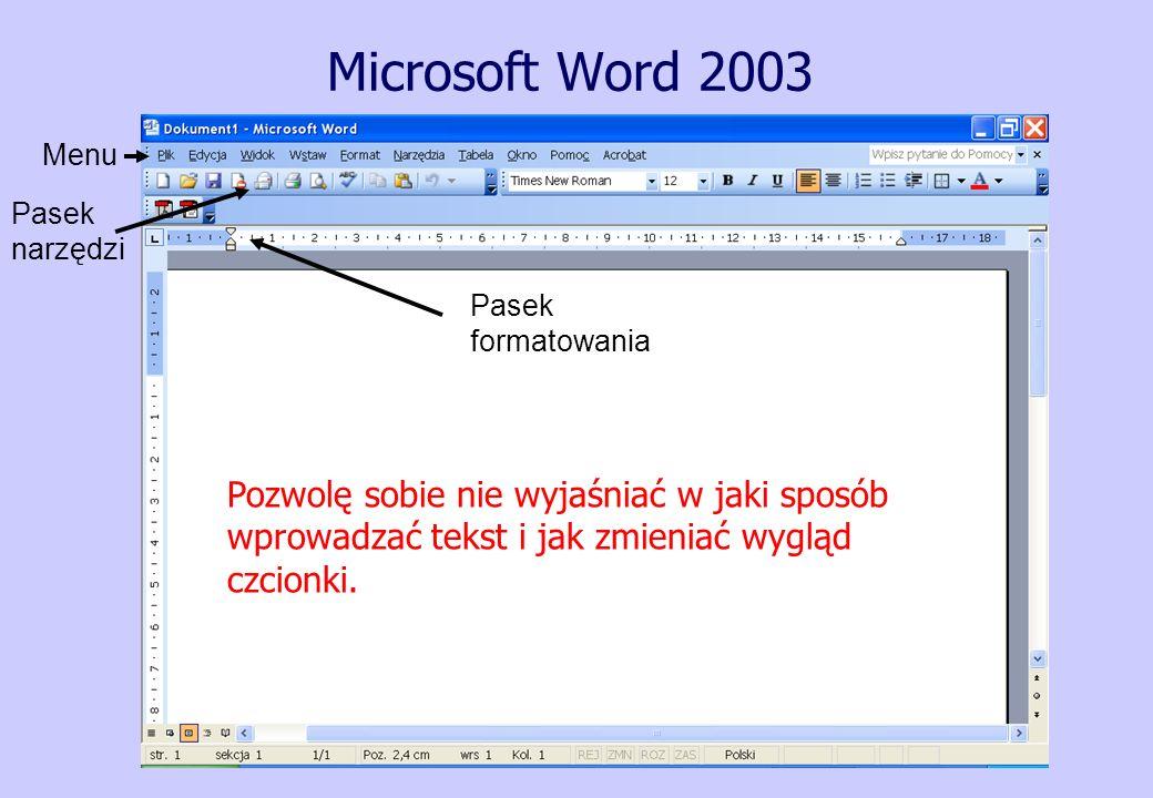 Microsoft Word 2003 Menu Pasek narzędzi Pasek formatowania Pozwolę sobie nie wyjaśniać w jaki sposób wprowadzać tekst i jak zmieniać wygląd czcionki.